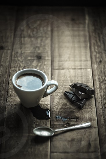 Coffee relax energy pause chocolate treat coffee time black barista espresso table wood chill chill out good times  photo