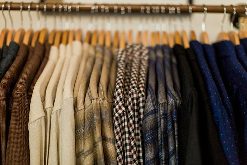 Neutral colors shirts menswear mens fashion mens shirts button up shirt button down shirt long sleeved clothing store shop shopping store wooden hangers flannel formal photo