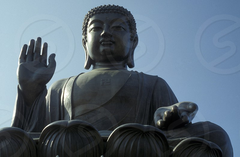 The Giant Buddha on the Island Lantau in Hong Kong in the south of China in Asia. photo