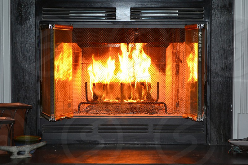 Fire flame fireplace photo