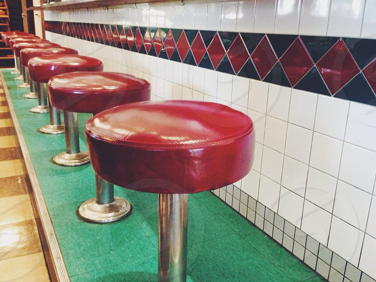 red leather stool chairs photo