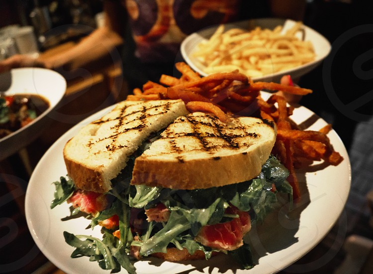 vegetable sandwich with fries on plate photo
