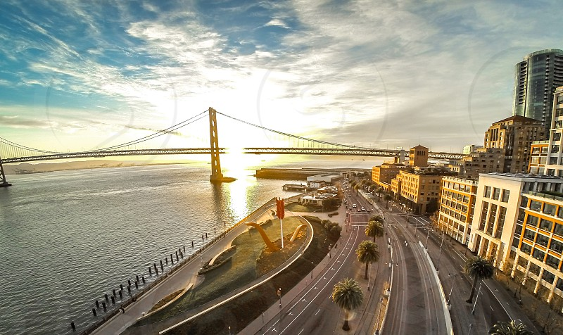 Sunrise above the Embarcadero & San Francisco Bay Bridge photo