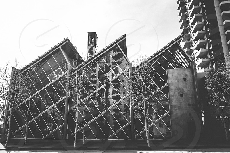 greyscale photography of 3 buildings photo