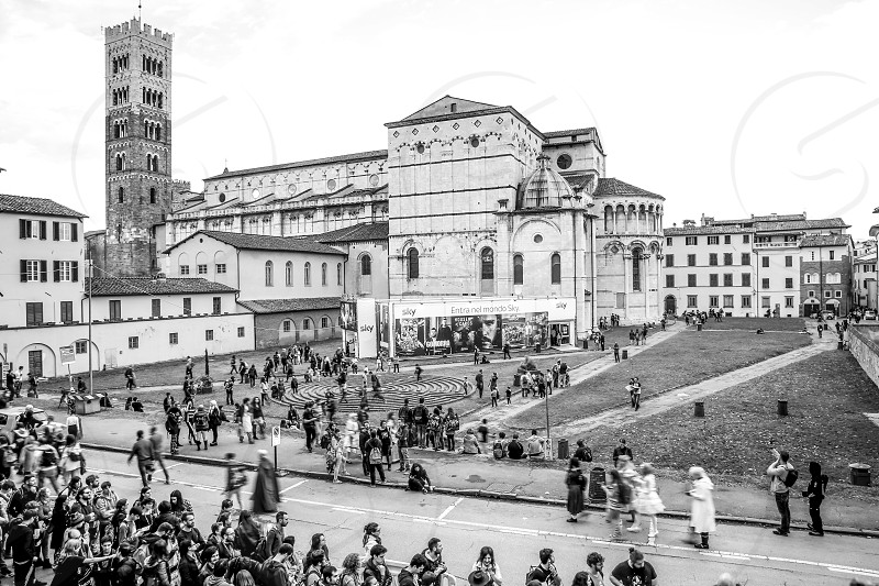 Lucca Italy 04/11/2018: Tourists and cosplayers visiting Lucca during the Lucca Comix 2018 photo