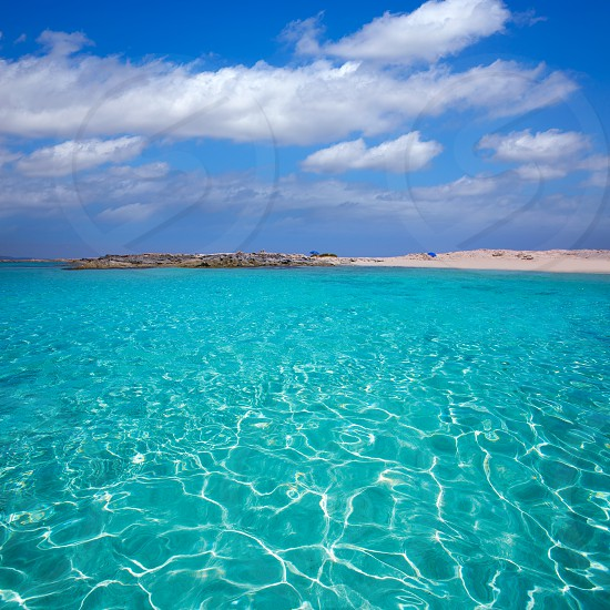 Formentera Illetes Illetas tropical beach near Ibiza at Balearic islands of Spain photo