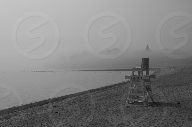 Southport CT beach in fog; Long Island Sound; lifeguard chair photo