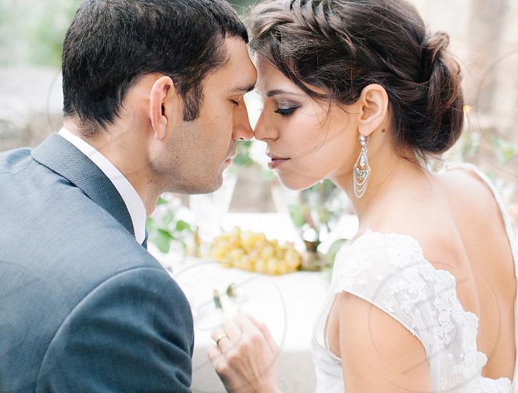 groom and bride on wedding day photo