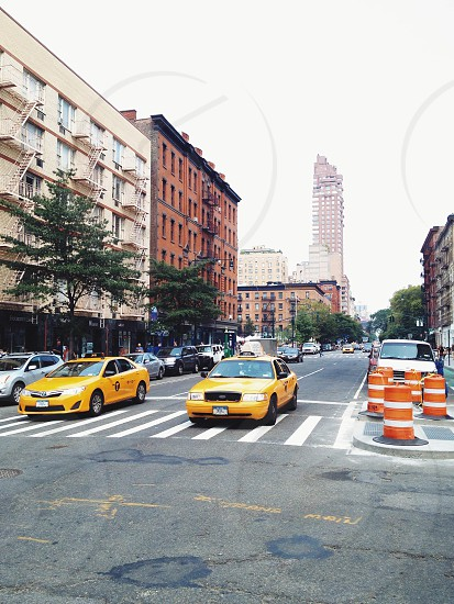 yellow taxi cabs photo