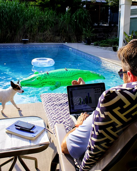 Business man working poolside on a summer afternoon; in the background inflatable toys are floating in the swimming pool small dog walking by on the pool deck. photo