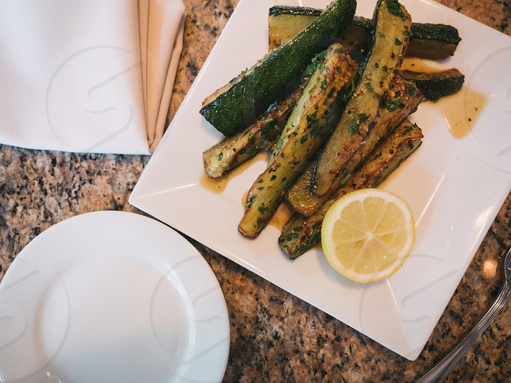 zucchini with an apple cider agrodolce - bocconcini photo
