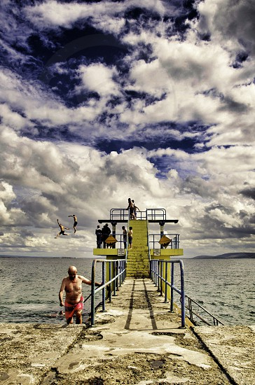 Summertime at the Diving board in Galway Ireland   photo