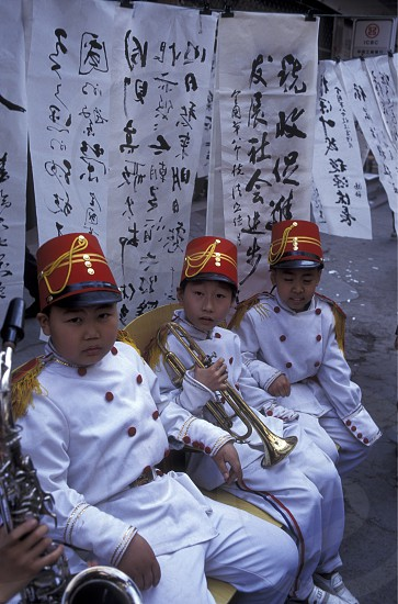 music childern in the city of wushan on the yangzee river in the three gorges valley up of the three gorges dam projecz in the province of hubei in china. photo