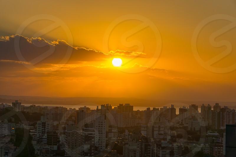 Sunset hour in Porto Alegre Rio Grande do Sul Brazil with the city buildings as landscape photo