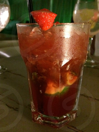Strawberries mojito. Cocktail photo