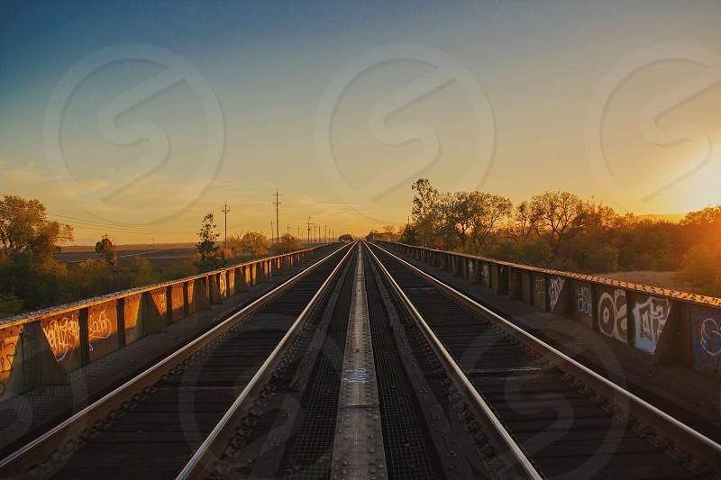 Train bridge Davis CA photo