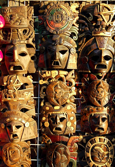 beautiful Mexican wooden mask traditional handcrafted photo