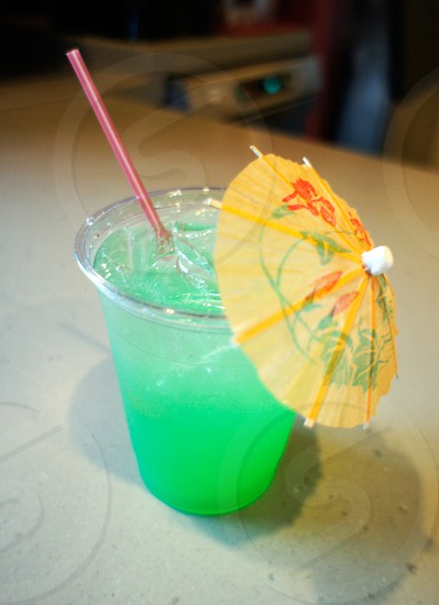 Tropical cocktail with a paper umbrella photo