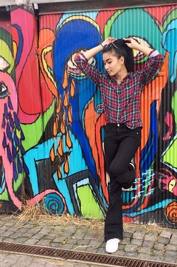 Graffiti girlposingcolorful photo