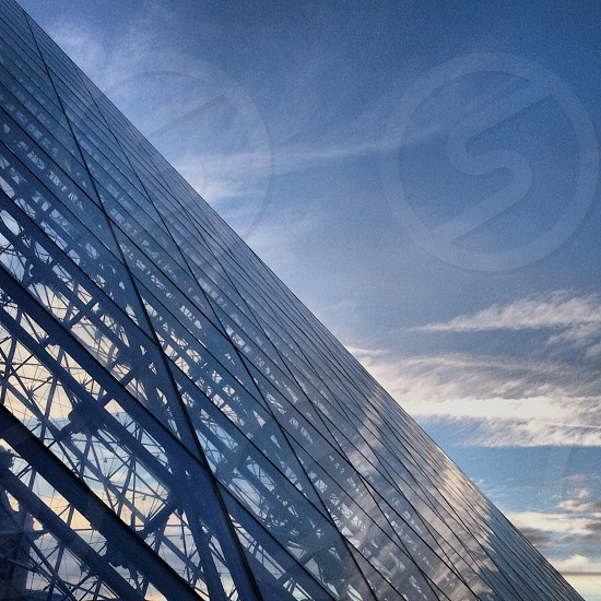 glass building with blue skies  photo