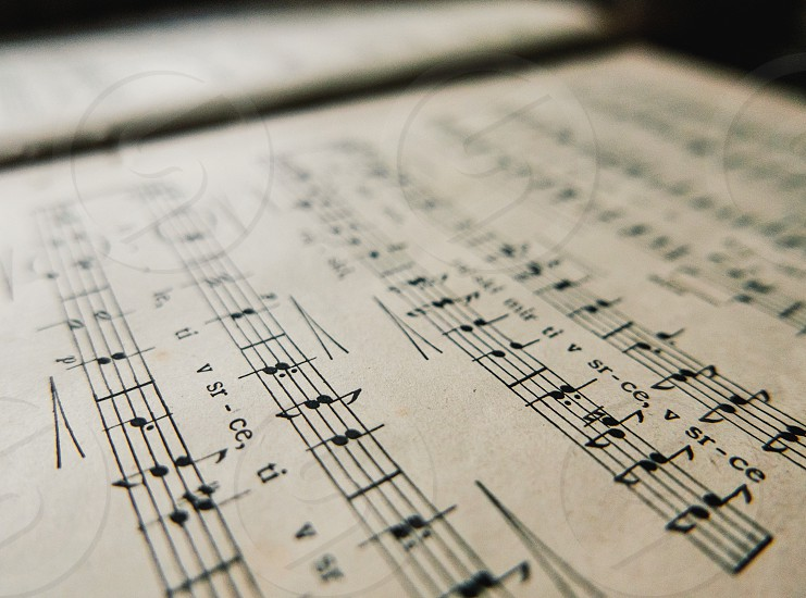 Old book with music notes. photo