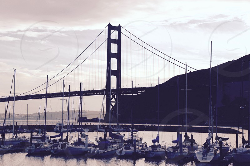 Harbor Below the Golden Gate Bridge at Dusk photo