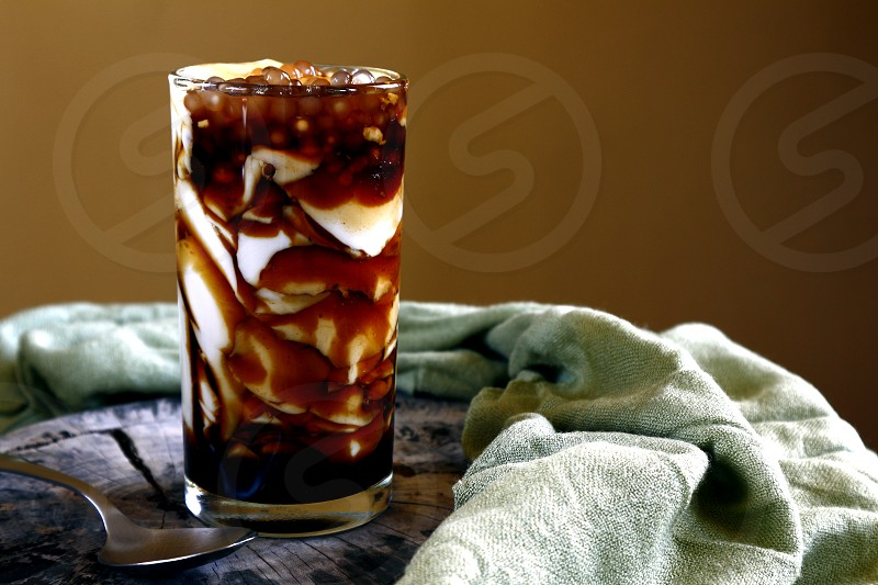 Photo of soy bean curd with caramel syrup and tapioca pearls or locally known in the Philippines as Taho photo