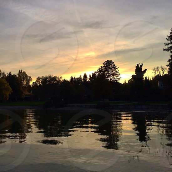 Sunset by the lake photo