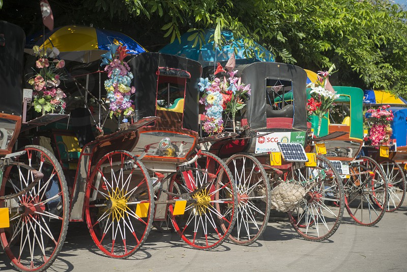 horse carriage in the old town of the city of Lampang in North Thailand. photo