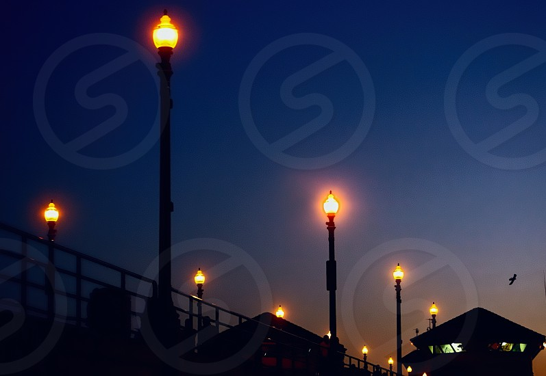 Looking up at lighted lampposts on a pier at night photo