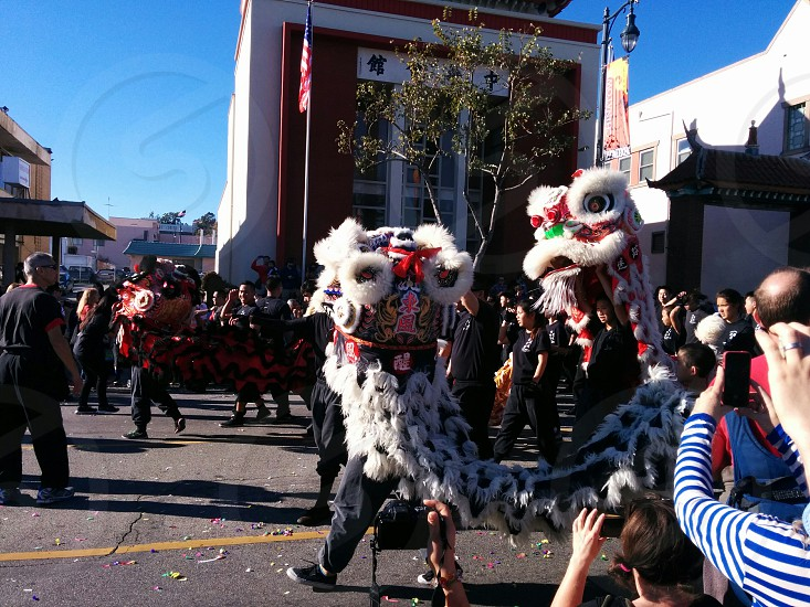 Chinatown parade with dragons photo