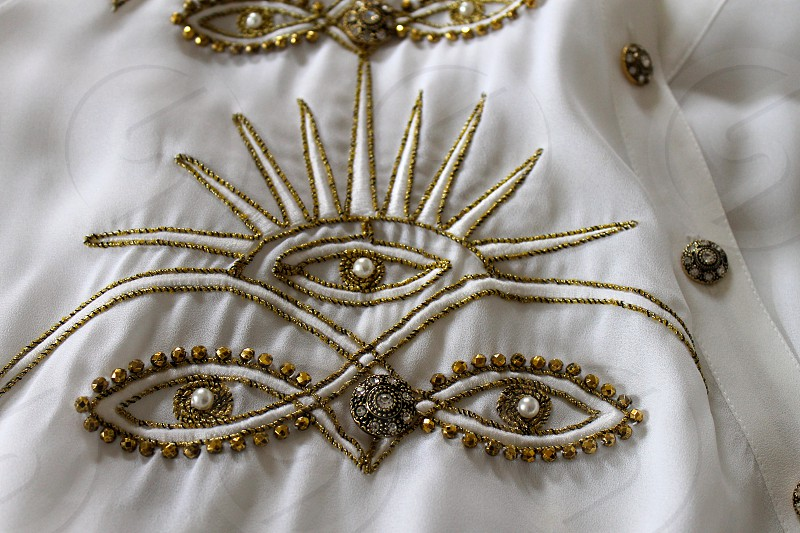 White and gold embroidery on organza Blouse Beautiful  photo