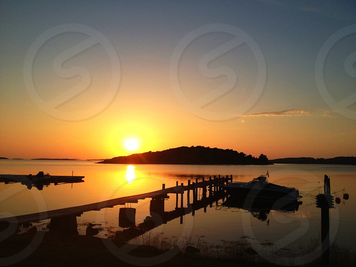 dock and sunset view photograph photo