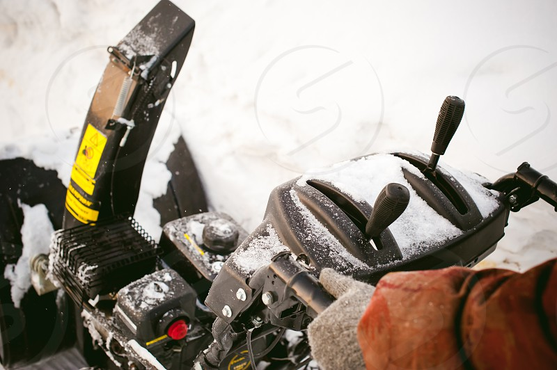 close up on snow blower for snow removal in winter photo
