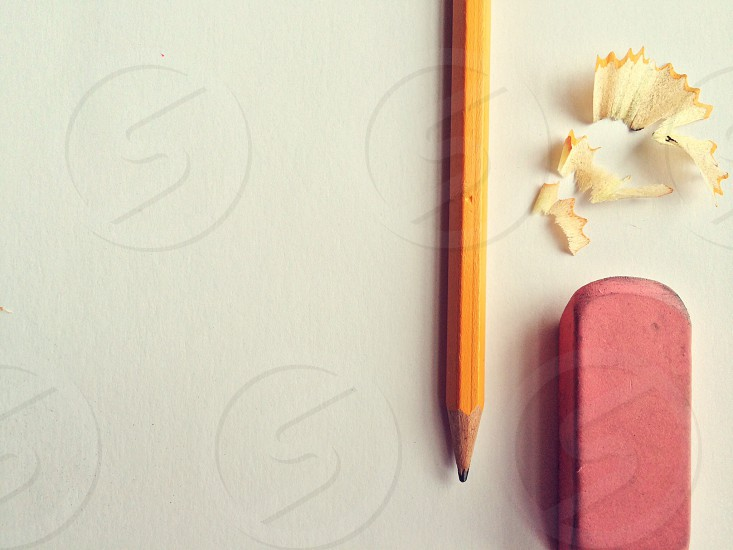 Getting ready for school with a classic pencil and eraser pair.  photo