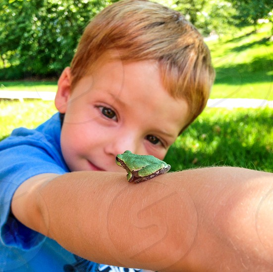 a boy and his frog photo