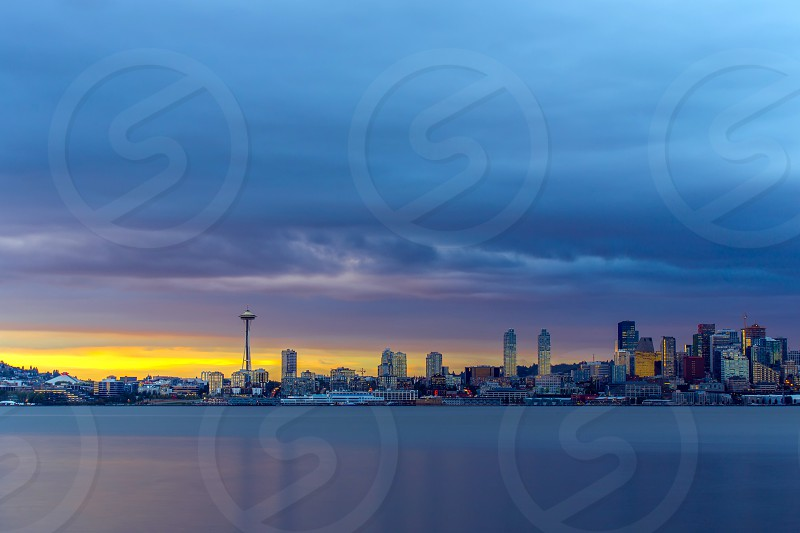 Amazing sunset and Seattle. photo