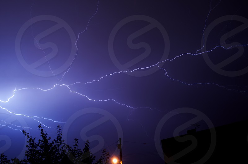 Lightning bolt. Nature phenomena electricity.  photo