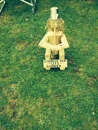 Garden• Wooden gnome • Grumpy old git sign photo
