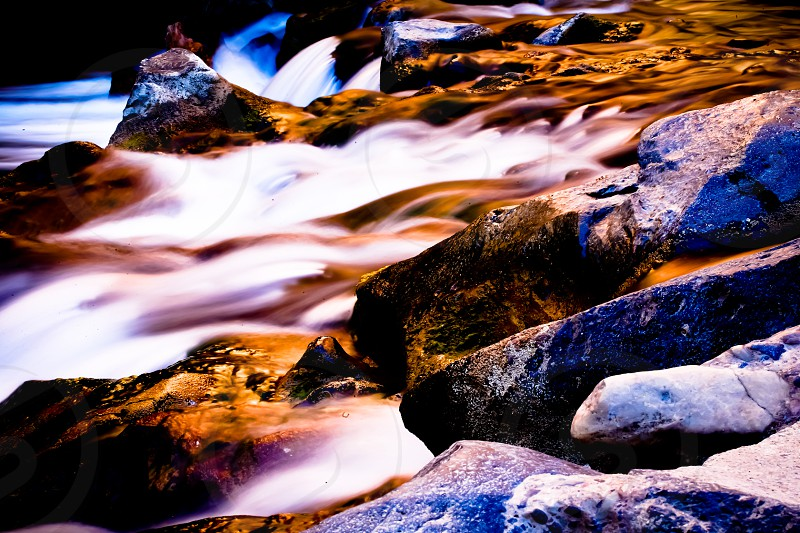 river rapids Zion National Park water stream colors long exposure photo