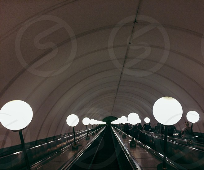 underground way home lamps Moscow metro. Russia photo