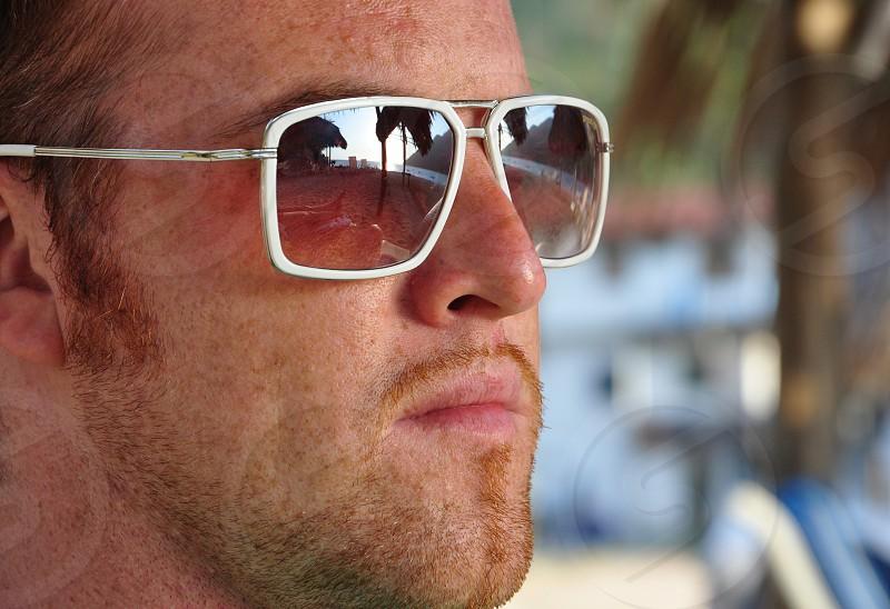 men's silver wire frame sunglasses photo