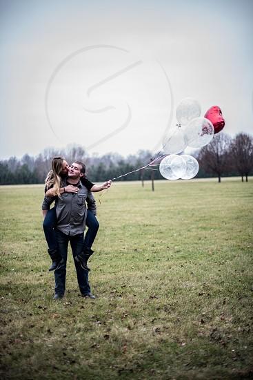 Love balloons heart balloon kissing  photo
