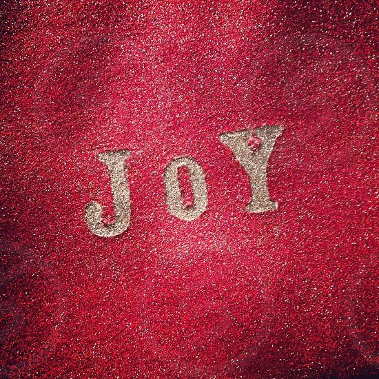 joy embroidered in gold on red fabric photo