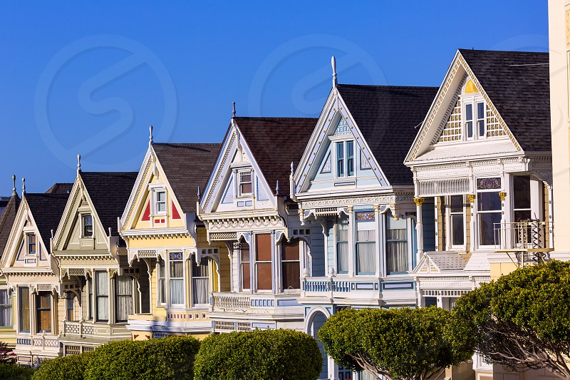 San Francisco Victorian houses in Alamo Square at California USA photo