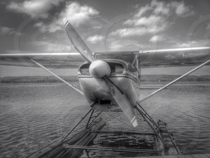 gray scale seaplane view  photo