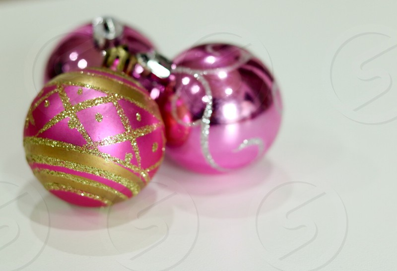 pink and brown glittered baubles photo