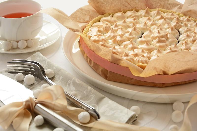 merengue pie tart cake homemade food tea time relax photo