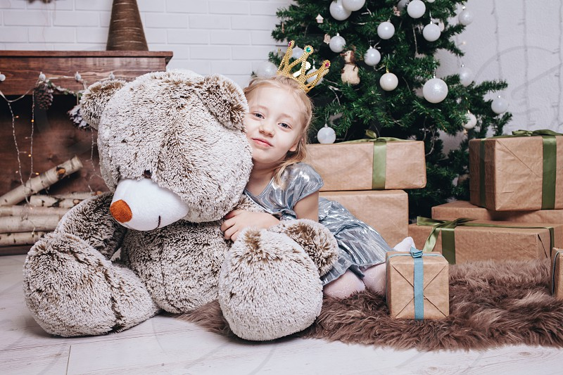 baby girl with gifts photo