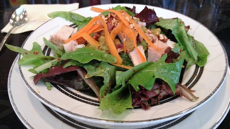 Salad of fresh greens and purple lettuce with chicken pecans and carrots. photo